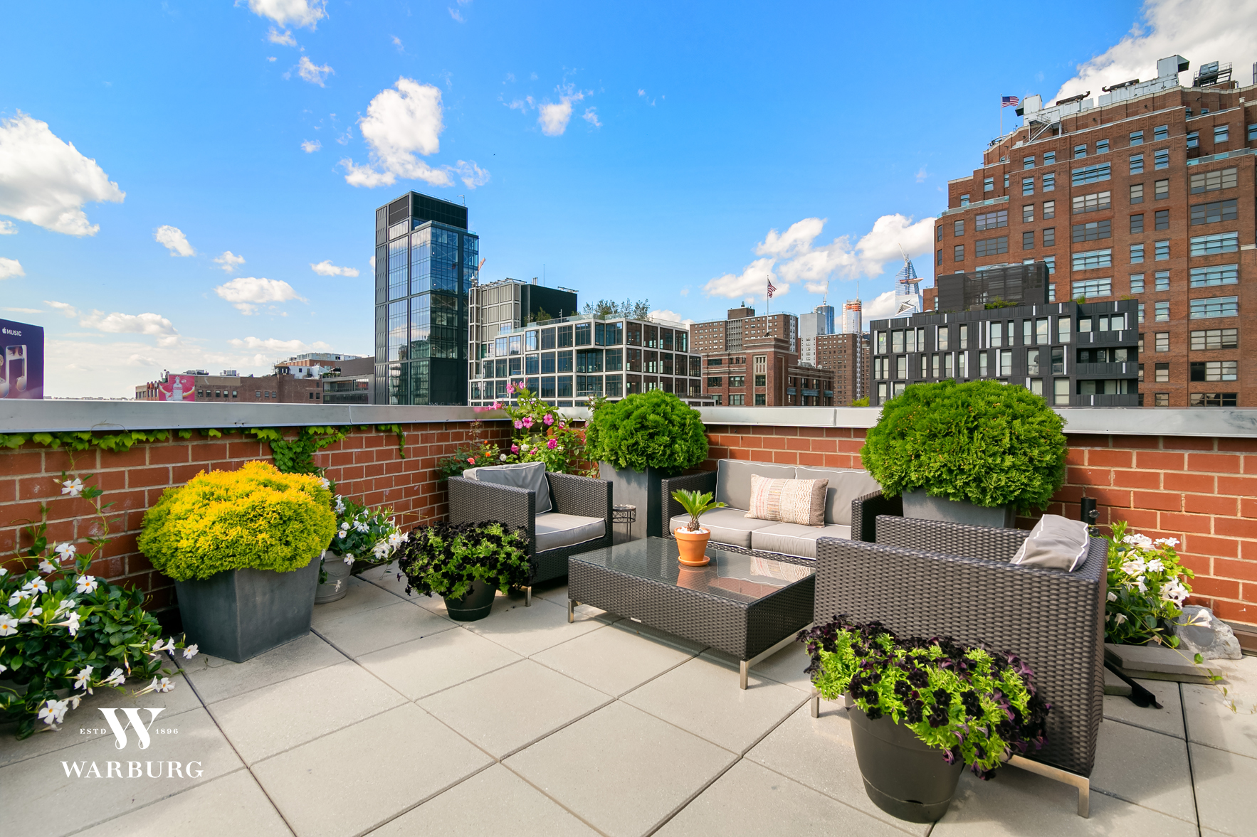 Architect-designed corner duplex penthouse with private outdoor terrace overlooking the West Village, Meatpacking District and Chelsea. In triple-mint condition, PHE captures excellent light with both Northern and Western exposures. 1,750 interior square feet with approximately 755 square feet of exterior terrace space. *Penthouse E is now available to be experienced in both video and via virtual reality tour on most platforms.*    The living and dining area flow together in an open-concept layout which is flexible to your needs. A chef's kitchen with an exterior-vented Thermador hood and range and a windowed home office with a guest bedroom are positioned off the living area. A full bathroom and additional powder room round out the first floor.    Leading up through the striking windowed staircase is the master suite and expansive corner terrace. Equipped with a Nest controlled environment, the master suite has a walk-in closet fully outfitted with built-in cabinetry, along with a bright and airy master bathroom featuring dual vanities and exit to the terrace. An additional half-bathroom is positioned off the master suite, with a fully vented washer and dryer housed in its own adjoining closet. The 775 square-foot planted terrace is meticulously planted with mature landscape, and captures sweeping vistas of the area.    The Village Pointe is a pet-friendly elevator condominium building with an excellent superintendent, and incredibly low monthlies. Village Pointe is located in the epicenter of technology, fashion, hospitality, and culture. SoHo House, Chelsea Market, Google, Whitney Museum, the Standard and the High Line are just some of the area's staples. Striking new residential and commercial developments including Pier 55, 61 Ninth Avenue and the Solar Carve building continue to improve infrastructure and design in the area. And more, ongoing restoration of public spaces including Gansevoort Plaza, Chelsea Triangle and 14th Street Plaza South are directly enha