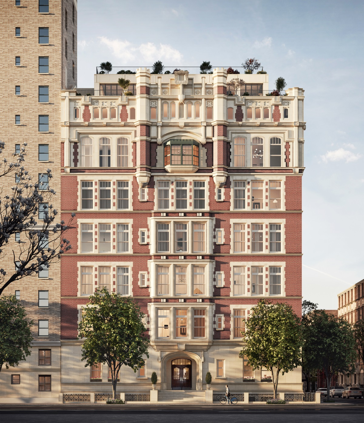 """The only new condominium in NYC with 18-1/2 foot ceilings in a 42-ft long Great Room, with towering arched windows, """"The Library"""" (2W) has 5 bedrooms, 5 en suite baths & a powder room. With a private landing & 3463 SF on two levels, the Library is one of 13 extraordinary, one-of-a-kind residences in Tamarkin Co.'s conversion of this landmarked former school. The kitchen features solid white fumed oak cabinets crafted by Christopher Peacock, with fluted glass cabinet fronts and Nanz hardware, and is open to the 37 ft Great Room providing a relaxed living and dining environment. Additional features in this absolutely gorgeous kitchen include white oak plank floors, polished Arabescato marble slab countertops and backsplash, vented Wolf 48"""" dual fuel range, Sub-Zero fridge & separate freezer, wine storage, microwave and warming drawers, two dishwashers, Lefroy Brooks faucets, garbage disposal, pot filler & more. On this floor are 3 en suite bedrooms, a powder room, large pantry, butler's pantry and laundry room. En suite secondary baths are outfitted with the highest quality stone & hardware.   Upstairs, on the mezzanine level, the light-filled, south-facing master features two walk-in closets, and a luxurious bath with Calacatta gold marble slabs, custom white oak vanities by Christopher Peacock, double sinks with Lefroy Brooks fixtures, Zuma soaking tub, radiant-heat floors, towel warmers, steam shower & Toto Neorest smart toilet. This level overlooks the Kitchen and Great Room, making for a dramatic double height experience.  Amenities include a 24/7 attended lobby with refrigerated storage, bike room, and stroller valet. The day lit gym features state-of-the-art equipment & the rec room features a wet bar, pool table, dart board, lounge chairs, and large-screen TV. The Library (2W) is offered with 76 SF of private storage.  The complete offering terms are in an offering plan available from the sponsor, file #CD17-0364."""