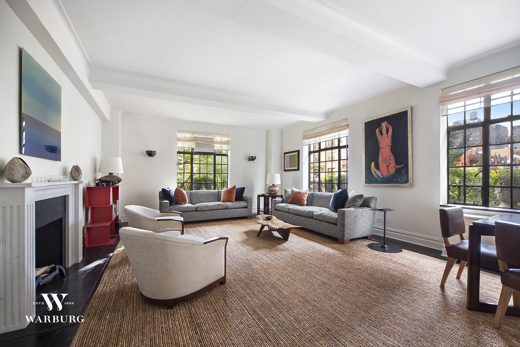 "Heralded by The New York Times as ""one of the grandest buildings on West End,"" this Emery Roth deigned masterpiece at 580 West End Avenue has few rivals.  The beige brick façade, complimented by oversized casement windows, is a fine example of Roth's use of both modernism and old-world charm.  Once inside this four-bedroom, four-bathroom full-floor residence its grand proportions are revealed.   Boasting over nine and half foot ceilings and 3,000 square feet, this sprawling eight-room home has undergone a complete and remarkable renovation.  The current owner updated the apartment and installed a state-of-the-art customized Savant audio/video system.  The elegant entrance gallery leads to a Western light-filled living space outfitted with three planted juliet balconies and a decorative fireplace. The adjacent dining space leads to a windowed kitchen equipped with top-of-the line finishes and appliances including a washer/dryer. A breakfast den is found at the end of the kitchen which is expertly crafted for casual gathering or informal dining. The breakfast den gives the apartment a flexible layout allowing for up to five bedrooms.  The expansive 22-foot corner master bedroom suite offers two closets including a large walk-in. The en-suite master bathroom is an elegant oasis. Two secondary bedrooms both have en-suite bathrooms, as does the fourth bedroom, which can easily be converted to an office or media room.   Built in 1926, with only 17 units, 580 West End Avenue is a private and elegant retreat from the commotion of city living.  There is a live-in super, central laundry room, and pets are welcome."