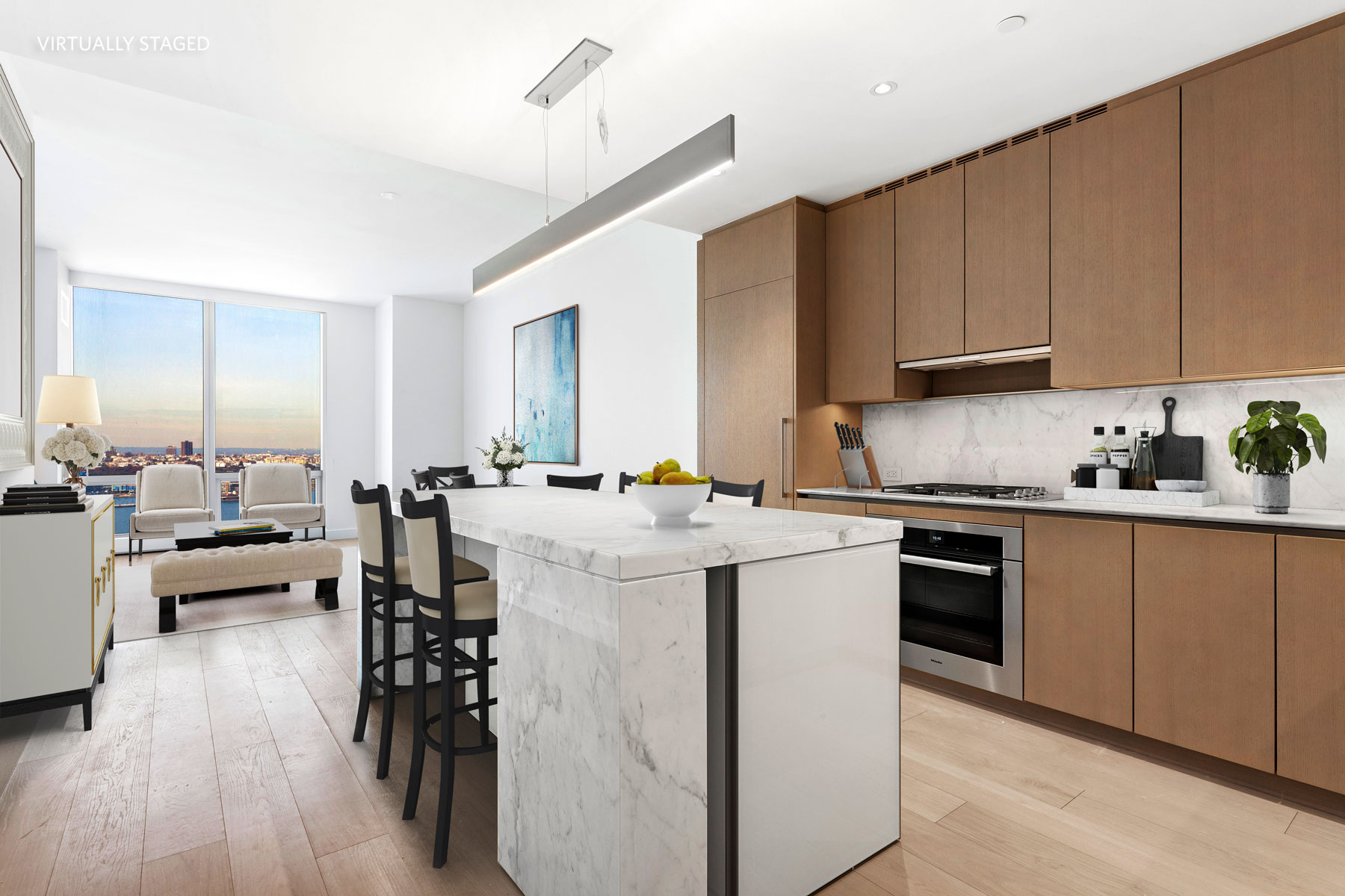 """Experience the Ultimate Lifestyle in the New Heart of NYC - the  most talked about neighborhood, Hudson Yards!Residence 27D is an exceptional 1,571 square foot, two-bedroom home with ceilings up to 9'10"""" and sunset views of the Hudson River. The great room features an open kitchen with a marble island, oak wood cabinetry and Miele appliances including wine storage. The master bedroom suite features generous closet space and a luxurious master bath. A second bedroom with en-suite bath, a gracious entry foyer, and a powder room for guests make this a truly extraordinary home.Designed by Diller Scofidio + Renfro in collaboration with Rockwell Group, Fifteen Hudson Yards offers residents over 40,000 square feet of amenities across three floors. Floor 50 has been devoted to the full range of fitness and wellness opportunities, including an aquatics center with a 75-foot long three-lane swimming pool, a 3,500 square foot fitness center designed by The Wright Fit, private studio for yoga, stretching and group fitness classes, private spa suites with treatment rooms, and a beauty bar for hair and makeup services.Floor 51 features two corner private dinner suites including wine storage and tasting rooms, lounge with breathtaking Hudson River views, club room with billiards tables, card tables and large-screen TV, a screening room, business center, golf club lounge, and an atelier with communal working table and lounge seating.No pets please.This incredible, never lived in apartment, is being offered with NO FEE."""