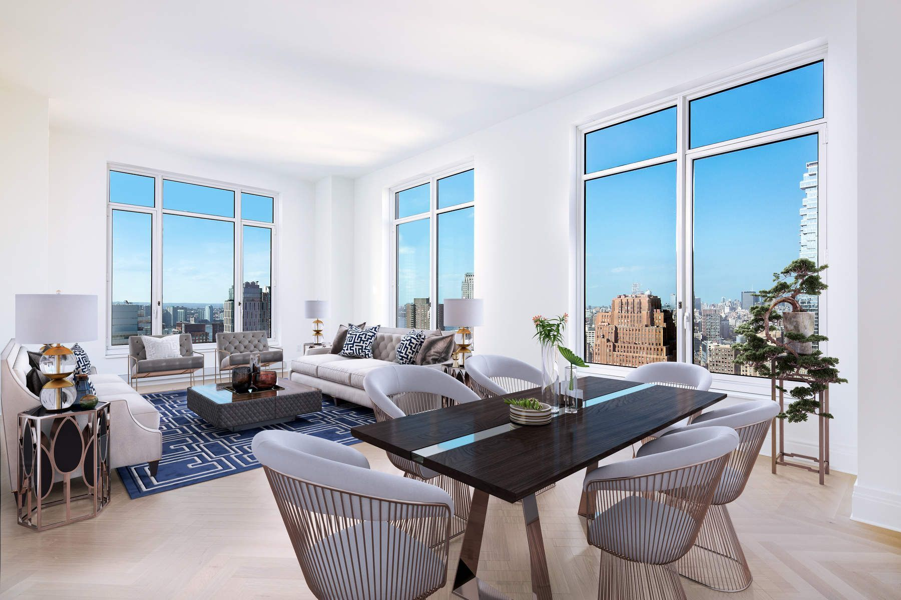 TENANT IN PLACE UNTIL 4/2019. Be the first to experience the unparalleled 5-star living offered exclusively at the Four Seasons Private Residences New York, Downtown in this 40th floor, 3 bedroom, 3.5 bath home. Floor to ceiling windows frame sweeping views West towards the Hudson River, North towards the Midtown skyline and South to One World Trade Center. This unit features an oversized corner Living/Dining Room, Master Bedroom Suite with luxurious 5 fixture bath, and two additional en-suite Bedrooms. The Eat-In Kitchen is equipped with top of the line Gaggenau appliances and features a large bay window. Lutron electronic shades already installed. Residents enjoy access to the services and amenities of the legendary Four Seasons Hotels and Resorts including a 75-ft. swimming pool, spa and salon, attended parking garage, world renown restaurant CUT by Wolfgang Puck, bar and lounge, ballroom facilities, and meeting rooms, as well as a comprehensive suite of a la carte services. The 38th floor is devoted to private residential amenities including a fitness center and yoga studio, private dining room, conservatory and lounge with access to loggias, Roto-designed kid's playroom, and screening room.