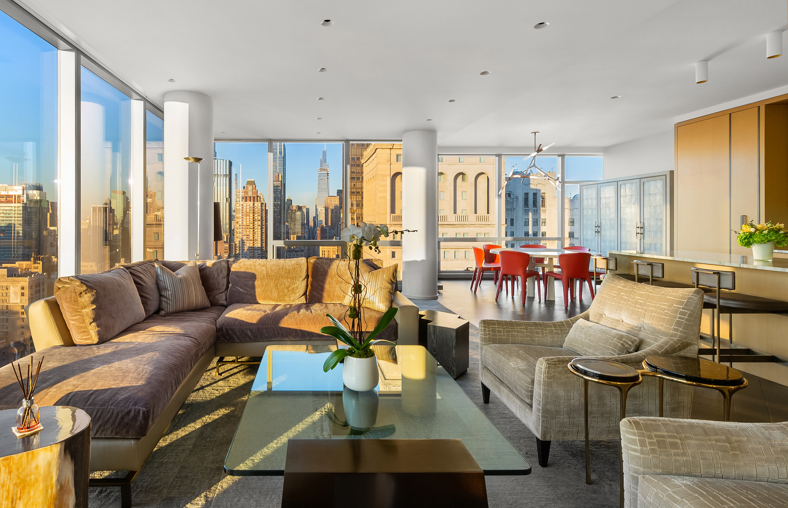 With unparalleled, 360o city views, this spectacular 3,310 sq.ft, four bedroom, four bathroom home occupies the entire 41st floor of the iconic One Madison condominium.  Unencumbered sunrise and sunset views of the Empire State Building, Madison Square Park, the Hudson River and beyond await you, thanks to massive, floor-to-ceiling windows and 11-foot ceilings in every room. An exquisitely designed interior by Yabu-Pushelberg and unmatched attention to detail make this a rare, not-to-be-missed opportunity.   Access the residence by a security-keyed elevator into the private foyer. Entertain in style in the sprawling, light-filled great room with north and west exposures, featuring contemporary touches like architectural columns and bespoke 9-inch quarter sawn oak flooring.  The open chef's kitchen features a Borghini Calacatta marble island with seating, a pull-out pantry, custom cabinetry and a complete suite of fully-integrated, top-of-the-line Gaggenau and SubZero appliances.    The lavish master suite sits in its own corner and offers beautiful panoramic views.  It includes an extraordinary walk-in closet and a spa-like marble bath boasting a free-standing soaking tub, separate glass-enclosed shower and a private water closet, all overlooking the Met Life Clock-Tower.   The three additional bedrooms are equally well-apportioned and also boast walls of windows and generous, custom-designed closet space. Two of the three bedrooms have en-suite marble baths with radiant heat floors.    This exceptional home features state of the art technology including motorized solar shades and a customizable Control4 Smart Home System.  Storage unit is available for purchase.    The Cetra-Ruddy designed One Madison, a 60-story luxury condominium situated at the nexus of the city's most charismatic and vibrant neighborhoods: Flatiron, Gramercy and NoMad. One Madison offers unparalleled services and extensive amenities that include a full-time doorman and concierge, great room wit