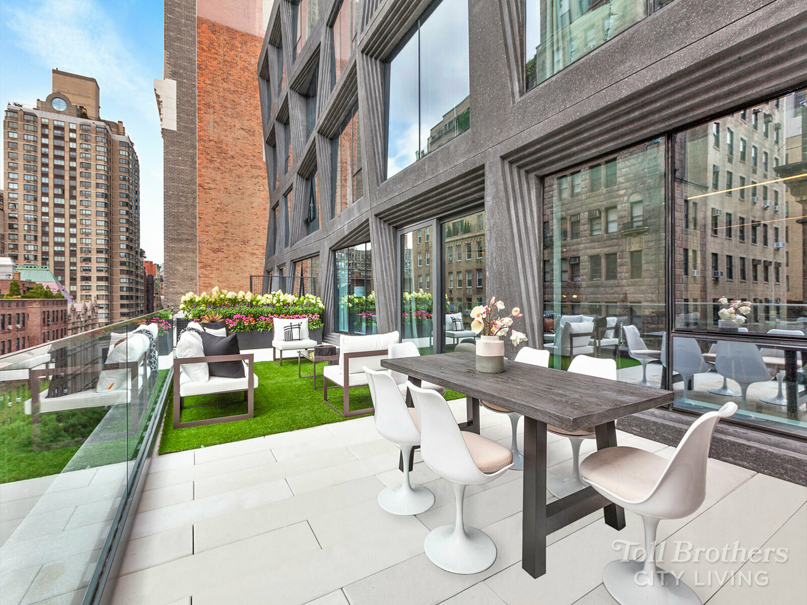 NATIONAL SALES EVENT (9/18 – 10/3): ALL CLOSING COSTS PAID BY SPONSOR + $25K OFF PARKING FOR LIMITED TIME! IMMEDIATE OCCUPANCY - SCHEDULE YOUR IN-PERSON OR VIRTUAL TOUR TODAY!   S901 is a one of a kind 4BR/4.5BA 2,553SF floor thru duplex with two terraces and a balcony (nearly 1,123sf of private outdoor space). With only two Residences per floor in the South tower, S902 offers privacy and exclusivity of a boutique building.  The Living/Dining Room with a large terrace and an open kitchen is facing South over a tree-lined East 22nd street. Guest bedrooms is tucked in the back with its own terrace overlooking a private courtyard. The primary bedroom suite with a balcony and two en-suite guest bedrooms is on the upper level accessible with it's own entrance. The home features wide plank, white oak floors, Gaggenau appliances, polished quartz counter tops, and acid-etched, back-painted glass cabinetry with custom millwork interiors. The stunning primary bathroom clad with Calacatta Paonazzo marble countertops, tub decks, and accent walls is outfitted with white oak cabinetry, polished chrome Kallista fixtures and acid-etched glass shower doors. All three bathrooms have radiant heated floors.  Residents enjoy a carefully curated selection of amenities that includes an indoor pool, a landscaped courtyard, an indoor/outdoor residents' lounge, a rooftop terrace with fire pit and grill, a private dining room and catering kitchen, a fitness center, a screening room, and a children's playroom. The building also offers an automated indoor parking system, bike storage, private storage, a 24/7 attended lobby, and full concierge services.  *Offer, if any, is valid for new buyers who sign an agreement of sale at full asking price between 9/18/21 and 10/3/21. Offers, incentives, and seller contributions, if any, vary by community and are subject to certain terms, conditions, and restrictions. Closing cost incentive is applicable to all non-recurring costs up to 5.5% of the purchase 