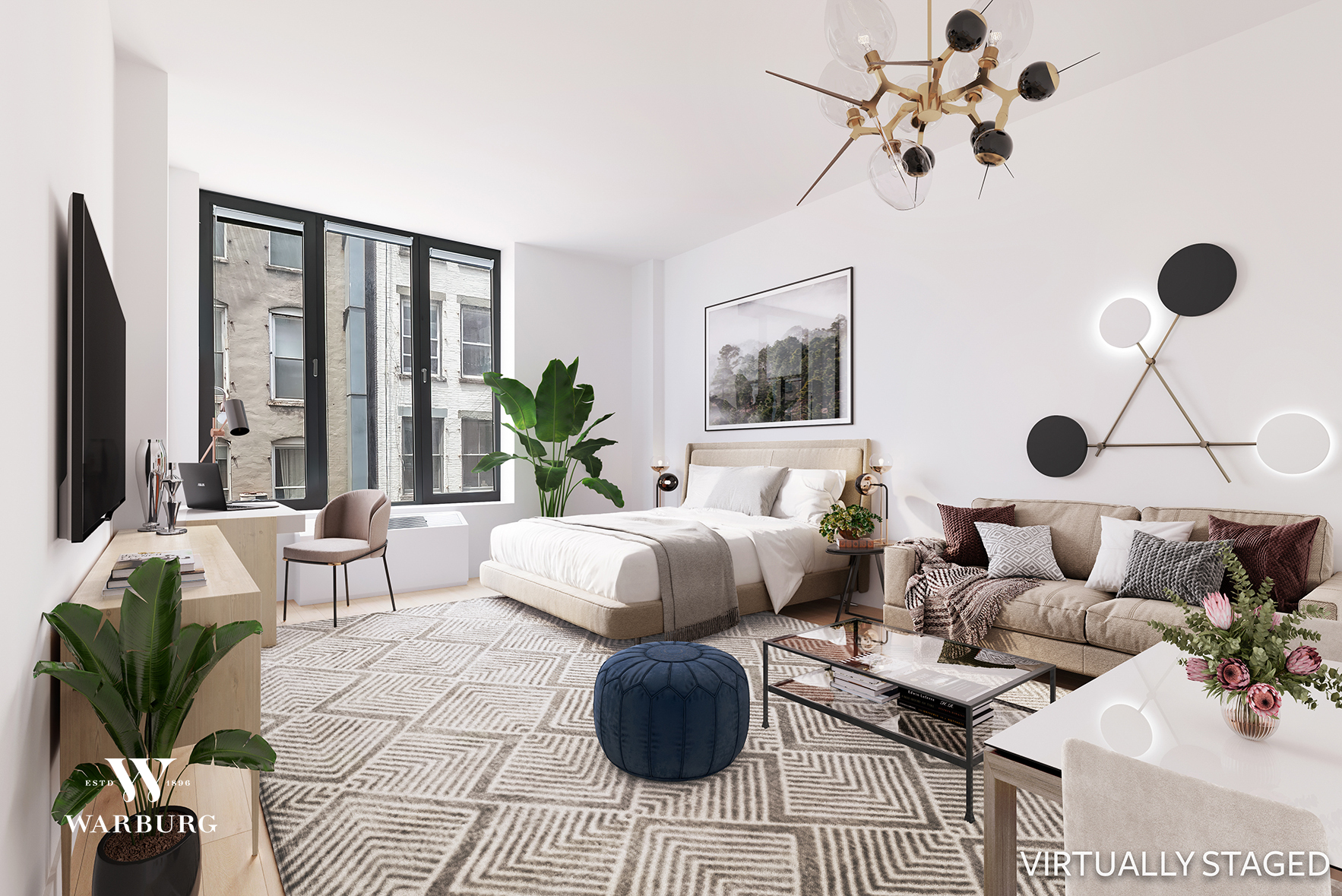 Live the dream in this chic, loft-like studio in the center of it all! With soaring ceiling heights (10 ft+), oversized windows and modern finishes—including a Bosch dishwasher, Miele stove, SubZero fridge, disposal, and in-unit Bosch washer/dryer—this 446 square-foot studio makes for the perfect downtown residence. The primary room is graciously sized with plenty of space for distinct bedroom, living and work areas. The spa-like, oversized bathroom is outfitted with marble finishes and a soaking tub/shower.  Built in 2005, One Kenmare Square at 210 Lafayette Street was designed by Richard Gluckman and is distinguished by its curved facade. The boutique luxury condominium has a 24-hour doorman, live-in resident manager, fitness room and private storage available for purchase. With entrances on both Lafayette and Crosby Streets, the building is perfectly situated in the heart of Soho and offers easy access to transportation as well as the city's finest dining and shopping. Please note, no smoking is allowed per building policy and only one dog or cat may be kept in the unit.  There is a monthly capital assessment of $95.91 in effect through 12/31/2021.  *Some of the rooms in this apartment have been virtually staged. Photos shown are for representation only. You will find the virtually staged room, followed by the original room.