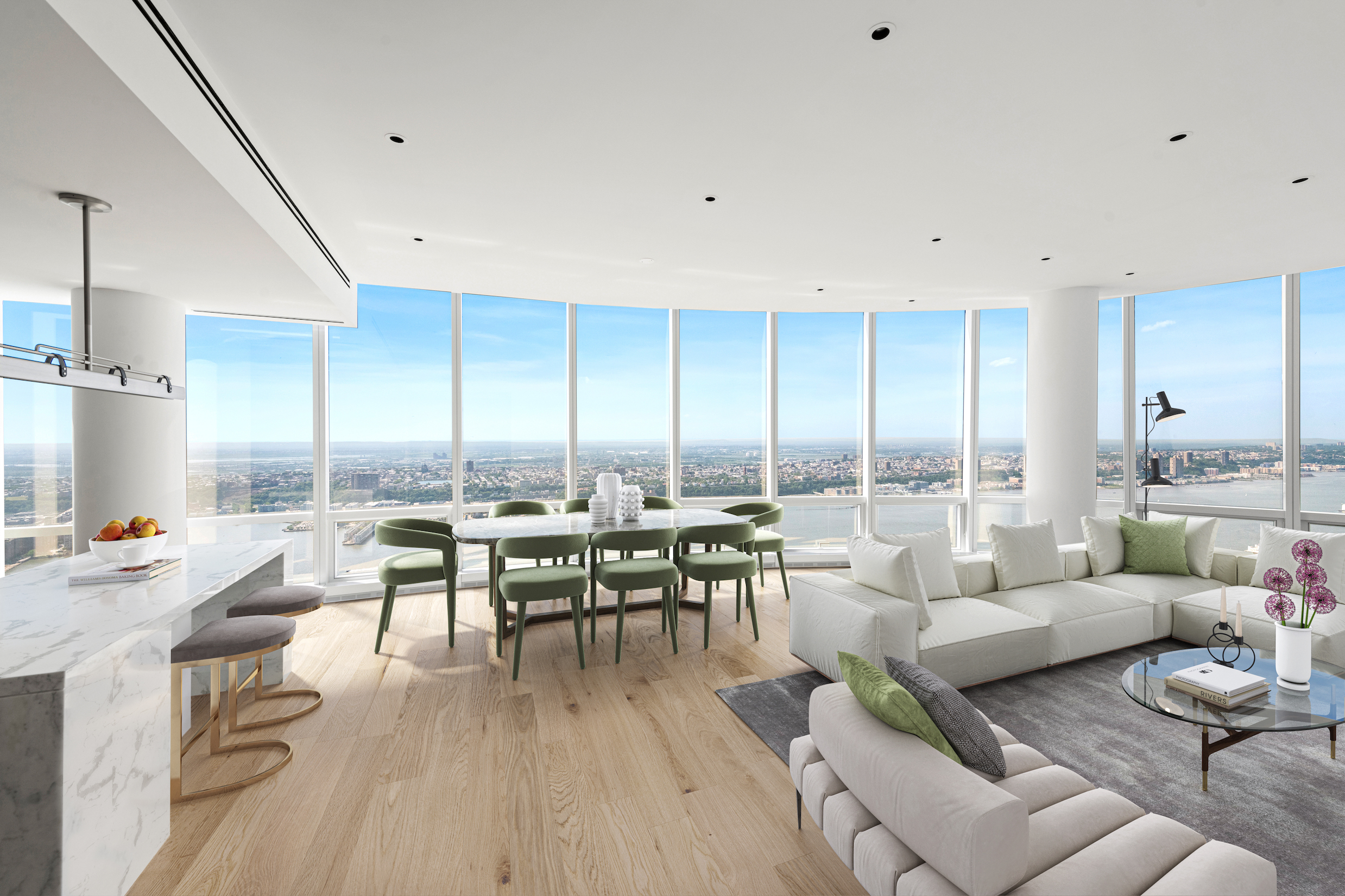 Welcome to this sublime corner condo perched high above the Hudson River in the ultra-luxurious Hudson Yards neighborhood, a stunning 3-bedroom, 3.5-bathroom home wrapped in floor-to-ceiling windows and saturated with natural light.  Highlights of this 2,617 sq. ft. apartment include beautiful hardwood floors, northern and western exposure, a side-by-side washer/dryer, soaring ceilings over 10 ft. in height, and expansive views of the Hudson River and Manhattan.  A grand foyer adorned with a powder room and a pair of coat closets leads into an expansive open-concept living room, dining room, and kitchen overlooking the river. The kitchen is equipped with an eat-in waterfall island, sleek marble countertops and backsplashes, custom cabinets, and a suite of fully-integrated appliances from Miele.     The primary bedroom has couples' walk-in closets, a supplementary linen closet, and a windowed en-suite bathroom with double sinks, a walk-in rain shower, and a deep soaking tub. The second and third bedrooms each have large reach-in closets and full en-suite bathrooms with chic tiles and custom vanities.   Fifteen Hudson Yards is a brand new residential building located in the exclusive Hudson Yards neighborhood. Residents have access to more than 40,000 sq. ft. of amenities that include a 75-ft long swimming pool, a state-of-the-art fitness center by The Wright Fit, a private yoga studio, spa suites, a beauty bar, private dining suites, a lounge, a screening room, a business center, a golf club, and an atelier. There is a 24-hour attended lobby and concierge service. The building has easy access to The High Line and The Shed and is surrounded by a number of luxury shopping, dining, and entertainment options. Pets are welcome.