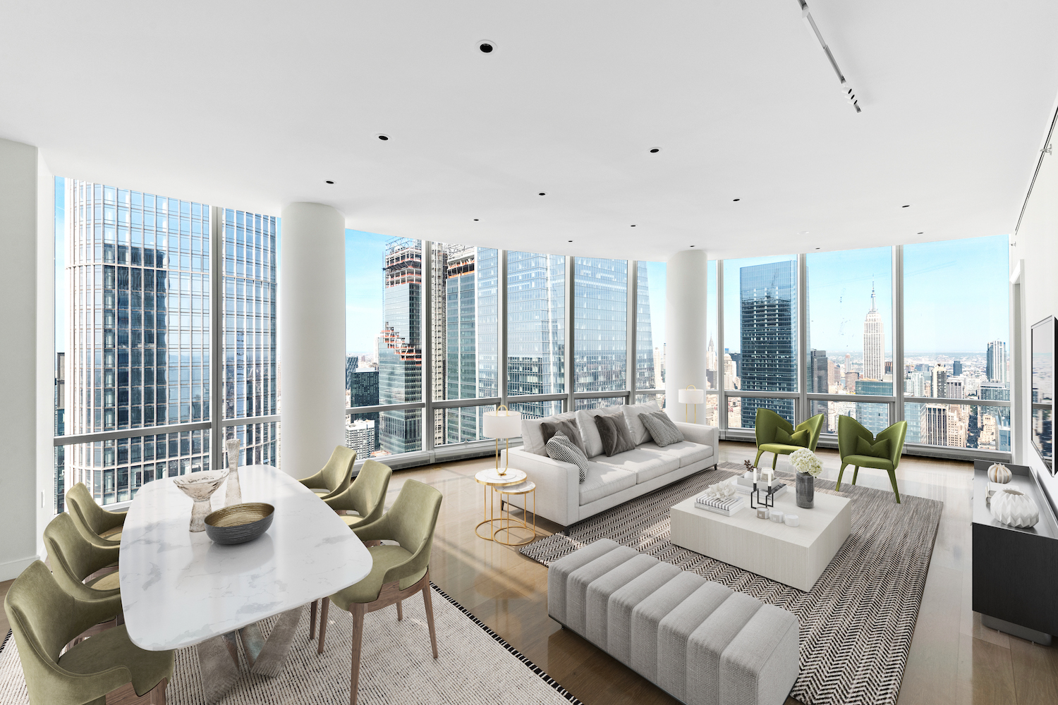 Welcome to this sublime skyline penthouse nestled in the ultra-luxurious Hudson Yards neighborhood, a stunning 3-bedroom, 3.5-bathroom home wrapped in floor-to-ceiling windows and saturated with natural light.  Highlights of this 2,538 sq. ft. apartment include beautiful hardwood floors, northern and western exposure, a side-by-side washer/dryer, soaring ceilings over 10 ft. in height, and expansive views of the Manhattan skyline including the Empire State Building and the Chrysler Building.  A grand foyer adorned with a powder room and coat closets leads into an wraparound living room, dining room, and kitchen overlooking the river. The kitchen is equipped with an eat-in waterfall peninsula, a windowed breakfast nook, sleek marble countertops and backsplashes, custom cabinets, and a suite of fully-integrated appliances from Miele.     The primary bedroom has couples' walk-in closets and a spa-like en-suite bathroom with double sinks, a walk-in rain shower, and a deep soaking tub. The second and third bedrooms each have large reach-in closets and full en-suite bathrooms with chic tiles and custom vanities.   Fifteen Hudson Yards is a brand new residential building located in the exclusive Hudson Yards neighborhood. Residents have access to more than 40,000 sq. ft. of amenities that include a 75-ft long swimming pool, a state-of-the-art fitness center by The Wright Fit, a private yoga studio, spa suites, a beauty bar, private dining suites, a lounge, a screening room, a business center, a golf club, and an atelier. There is a 24-hour attended lobby and concierge service. The building has easy access to The High Line and The Shed and is surrounded by a number of luxury shopping, dining, and entertainment options. Pets are welcome.