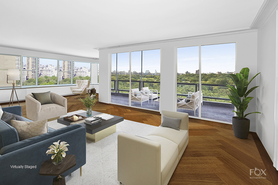 Magnificent Central Park and New York City views from this extraordinary home on Fifth Avenue at 67th Street.  This elegant 9 room home has all the ingredients to create your own masterpiece. With wall-to-wall windows of gorgeous West, South and East views, every room has brilliant light and open exposures. With one apartment per floor, you enter from a private elevator landing which opens into a large entry gallery. The entertaining rooms all flow from this gallery while the bedrooms are in a separate, private wing. The L-shaped living room has a working fireplace and a lovely terrace that hangs over Central Park. Adjacent to the living room is a beautiful wood paneled library, also with direct park views. Also off the main gallery is a well-proportioned dining room as well as the kitchen, of which there are two large staff rooms, a bathroom and laundry area. A powder room completes the entertaining space.  There are three generous bedrooms – currently two bedrooms were made into a grand primary suite and three bathrooms. The sunny bedrooms have picturesque city views overlooking townhouses to the East. There are beautiful hardwood floors throughout as well as enormous closet space.  This boutique co-op has only 17 apartments, a 24-hour doorman and attended elevators. There is a 2% flip tax, payable by the buyer.